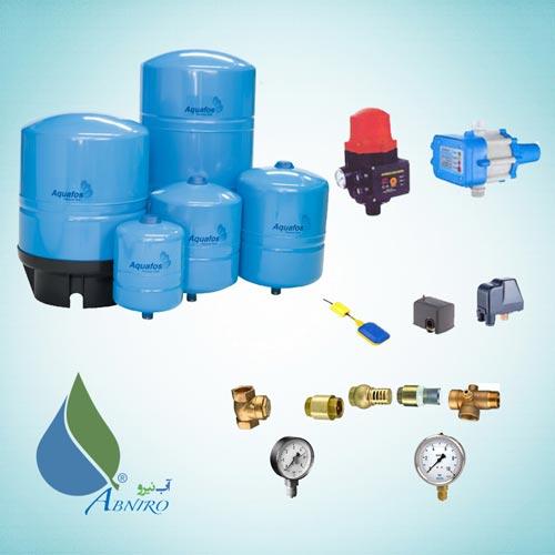 تجهیزات جانبی پمپ آب (منبع دیافراگمی - کلید اتوماتیک - ست کنترل - درجه و ... )